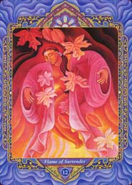 #12- Flame of Surrender, from the Triple Goddess Tarot (equivalent of the Hanging Man)